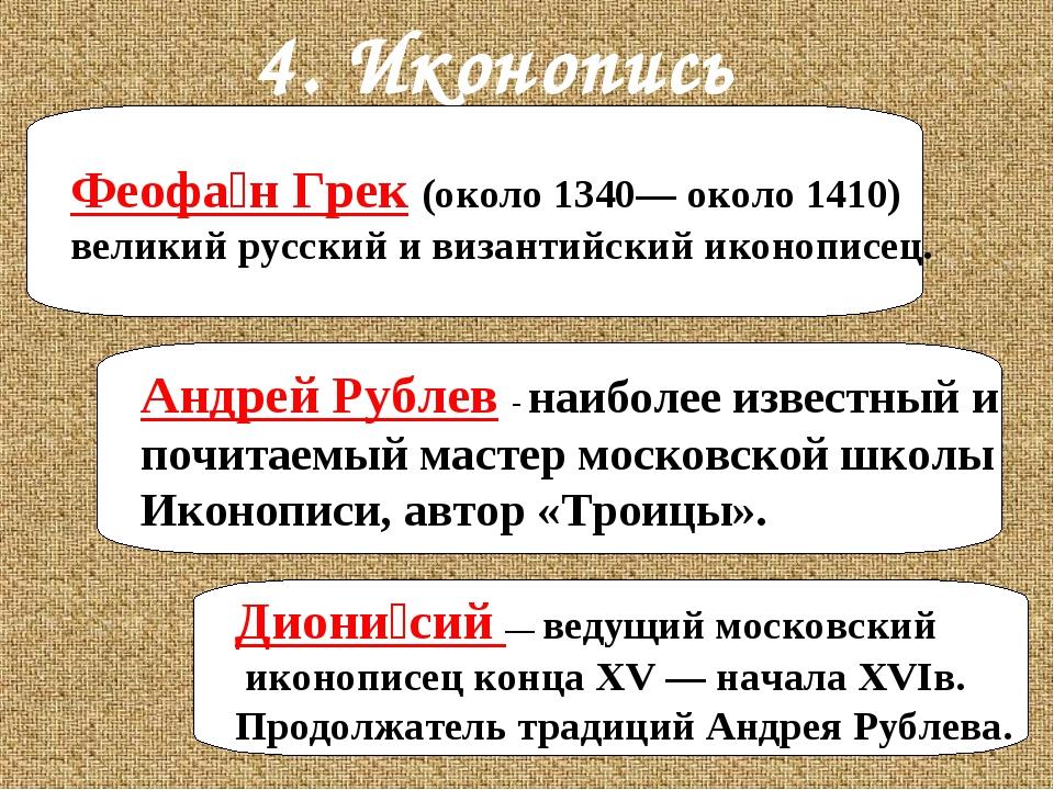 4. Иконопись Феофа́н Грек (около 1340— около 1410) великий русский и византий...