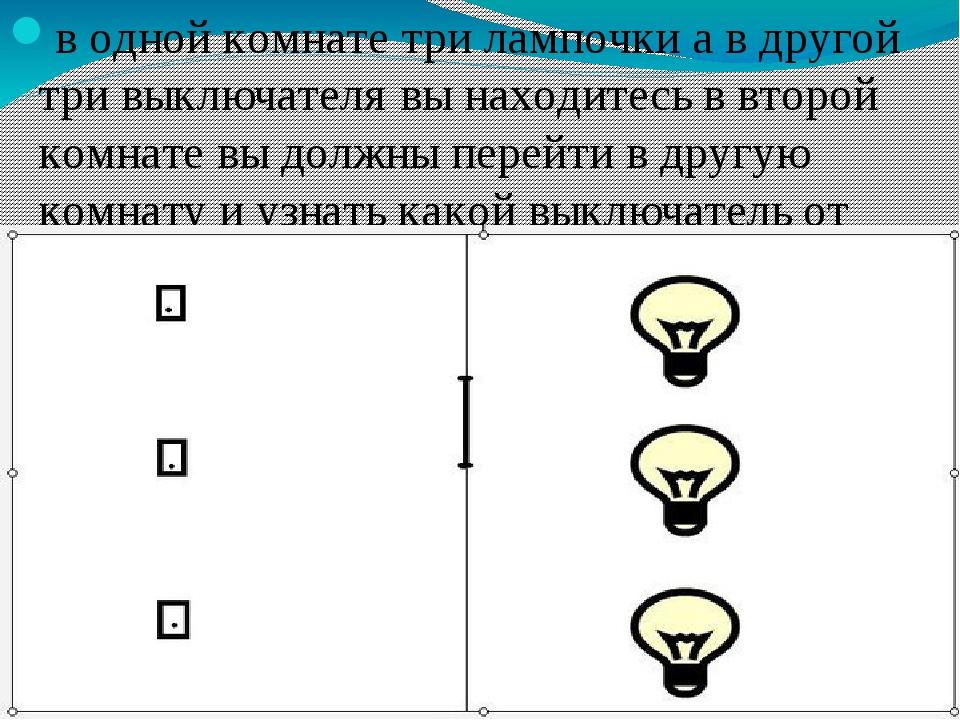 верите задача комната лампочка 3 выключателя кур есть