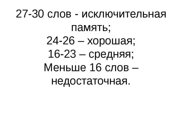 27-30 слов - исключительная память; 24-26 – хорошая; 16-23 – средняя; Меньше...