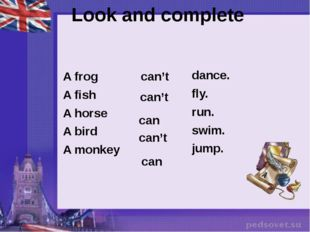 A frog A fish A horse A bird A monkey dance. fly. run. swim. jump. can't can'