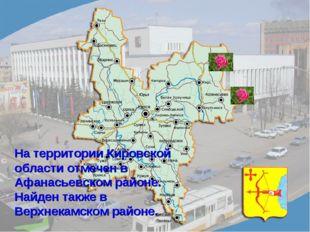 На территории Кировской области отмечен в Афанасьевском районе. Найден также