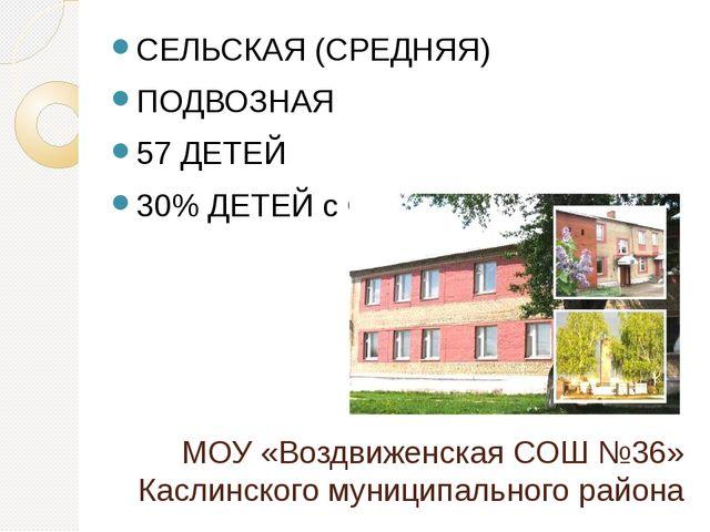 МОУ «Воздвиженская СОШ №36» Каслинского муниципального района СЕЛЬСКАЯ (СРЕДН...