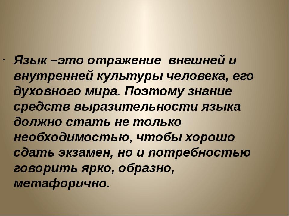 Язык –это отражение внешней и внутренней культуры человека, его духовного мир...