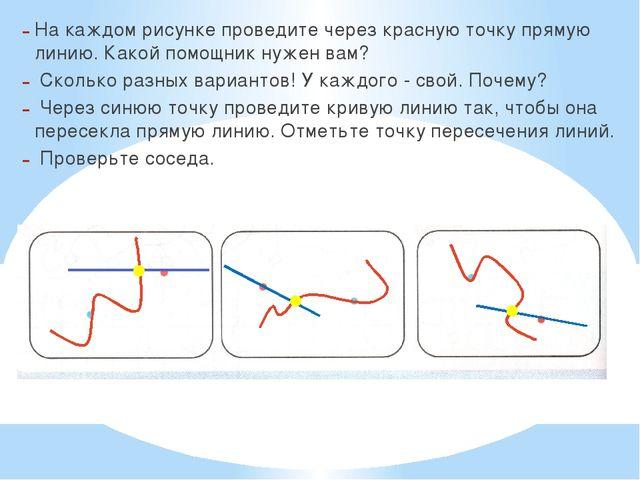 На каждом рисунке проведите через красную точку прямую линию. Какой помощник...