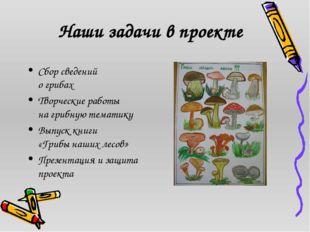 Наши задачи в проекте Сбор сведений о грибах Творческие работы на грибную те