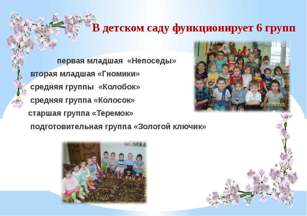 В детском саду функционирует 6 групп первая младшая «Непоседы» вторая младшая...