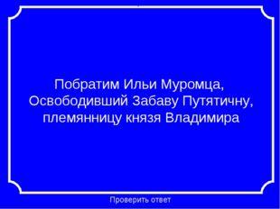 Побратим Ильи Муромца, Освободивший Забаву Путятичну, племянницу князя Владим