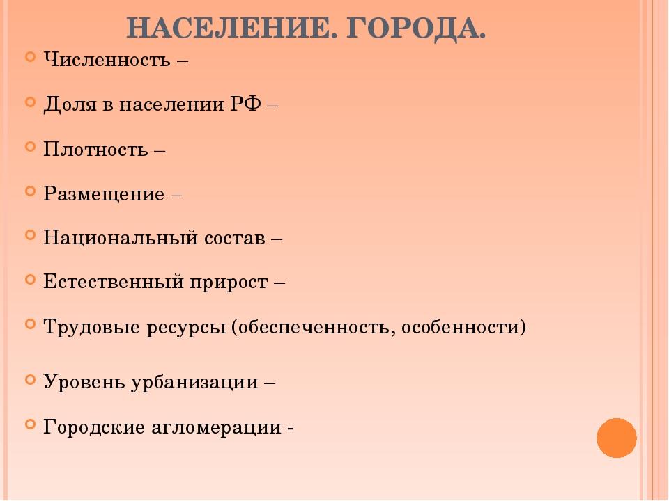 НАСЕЛЕНИЕ. ГОРОДА. Численность – Доля в населении РФ – Плотность – Размещение...