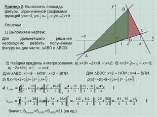 2) Найдем пределы интегрирования: а) x+3= –2x+9  x=2; б) x+3= x–  x=−5; в)