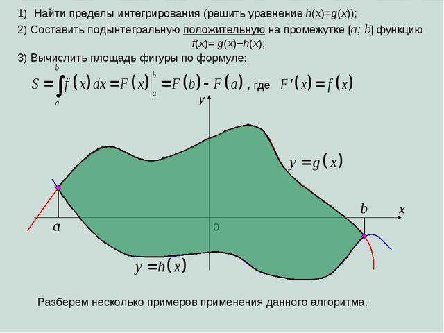 Найти пределы интегрирования (решить уравнение h(x)=g(x)); x 0 a b y 2) Соста...