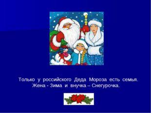 Только у российского Деда Мороза есть семья. Жена - Зима и внучка – Снегуроч