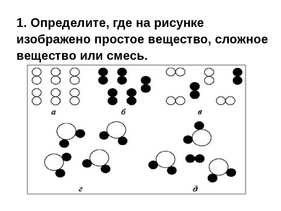 1. Определите, где на рисунке изображено простое вещество, сложное вещество и...