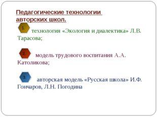 Педагогические технологии авторских школ. технология «Экология и диалектика»