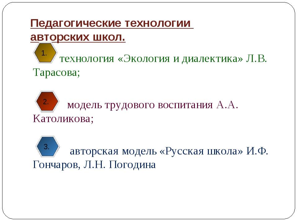 Педагогические технологии авторских школ. технология «Экология и диалектика»...