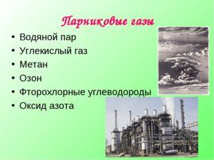 Парниковые газы Водяной пар Углекислый газ Метан Озон Фторохлорные углеводоро