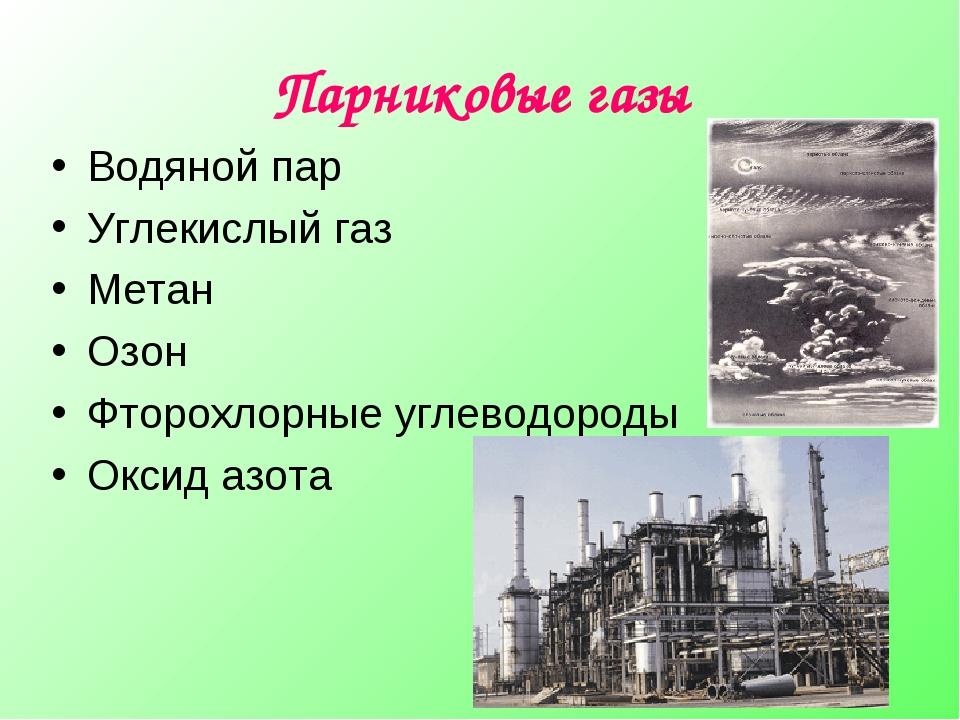 Парниковые газы Водяной пар Углекислый газ Метан Озон Фторохлорные углеводоро...