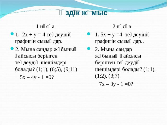 Өздік жұмыс 1 нұсқа 1. 2х + у = 4 теңдеуінің графигін сызыңдар. 2. Мына санда...