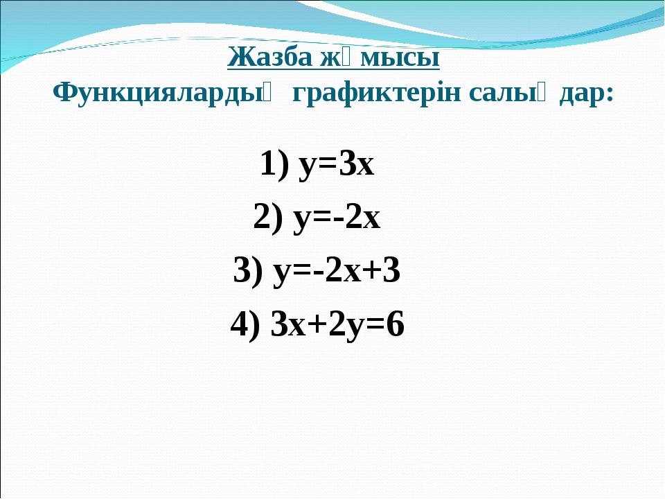 Жазба жұмысы Функциялардың графиктерін салыңдар: 1) y=3x 2) y=-2x 3) y=-2x+3...