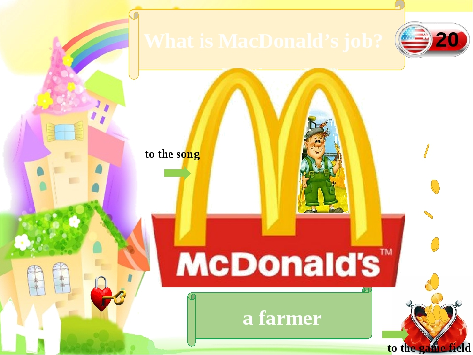 Let's sing a song What is MacDonald's job? a farmer to the game field 20 to...
