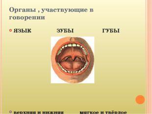 Органы , участвующие в говорении ЯЗЫК ЗУБЫ ГУБЫ верхняя и нижняя мягкое и твё