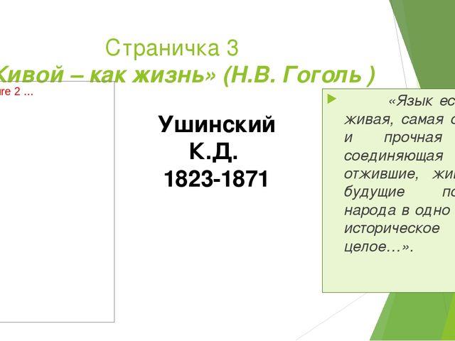 Страничка 3 «Живой – как жизнь» (Н.В. Гоголь ) «Язык есть самая живая, самая...
