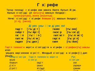 Г хәрефе Татар телендә г хәрефе ике авазга билге булып йөри. Калын сүзләрдә у