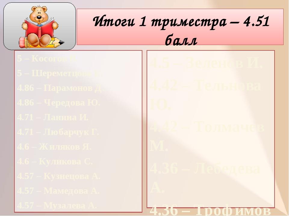 Итоги 1 триместра – 4.51 балл 5 – Косогов В. 5 – Шереметцова Е. 4.86 – Парамо...