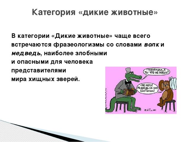 В категории «Дикие животные» чаще всего встречаются фразеологизмы со словами...