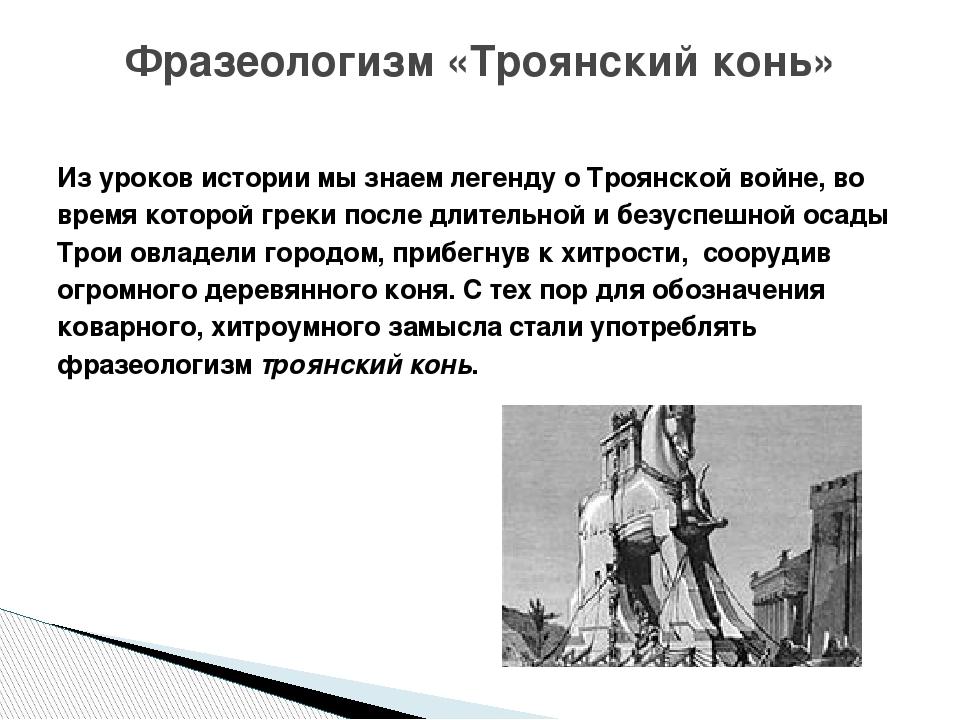 Из уроков истории мы знаем легенду о Троянской войне, во время которой греки...
