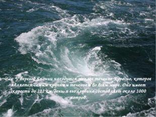 22. У берегов Японии находится теплое течение Куросио, которое является самы