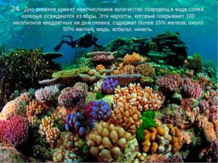 24. Дно океанов хранит неисчислимое количество сокровищ в виде солей, которы