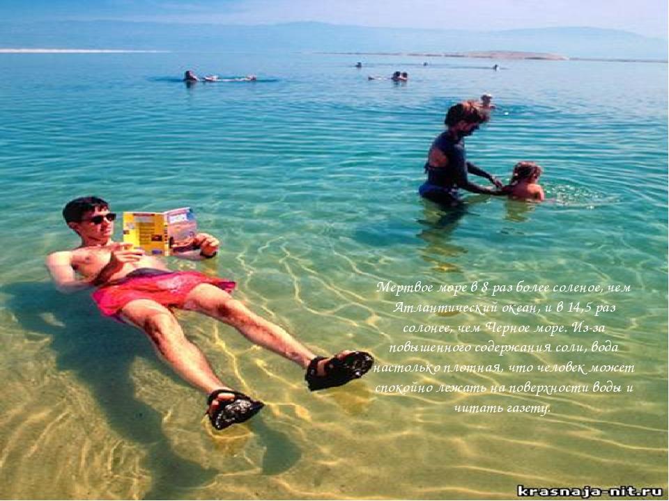 Мертвое море в 8 раз более соленое, чем Атлантический океан, и в 14,5 раз со...