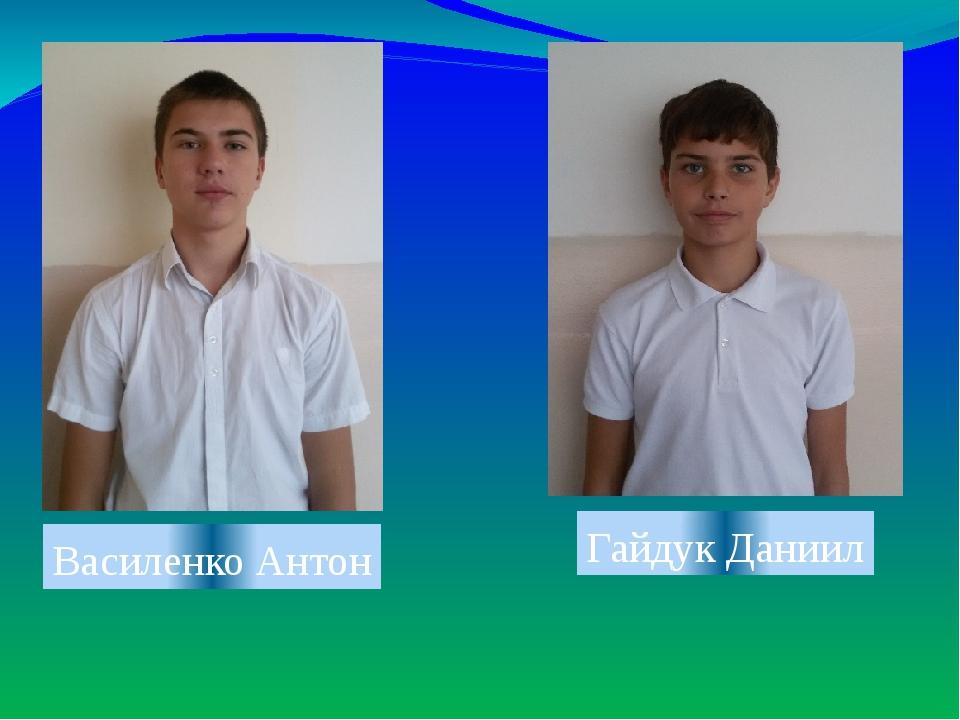 Василенко Антон Гайдук Даниил