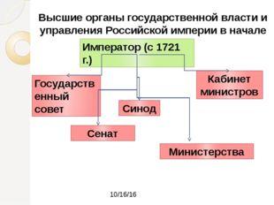 Высшие органы государственной власти и управления Российской империи в начале