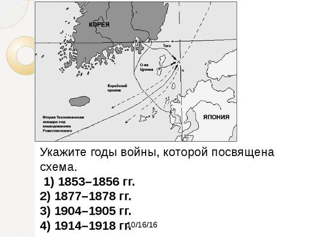 Укажите годы войны, которой посвящена схема. 1) 1853–1856 гг. 2) 1877–1878 г...