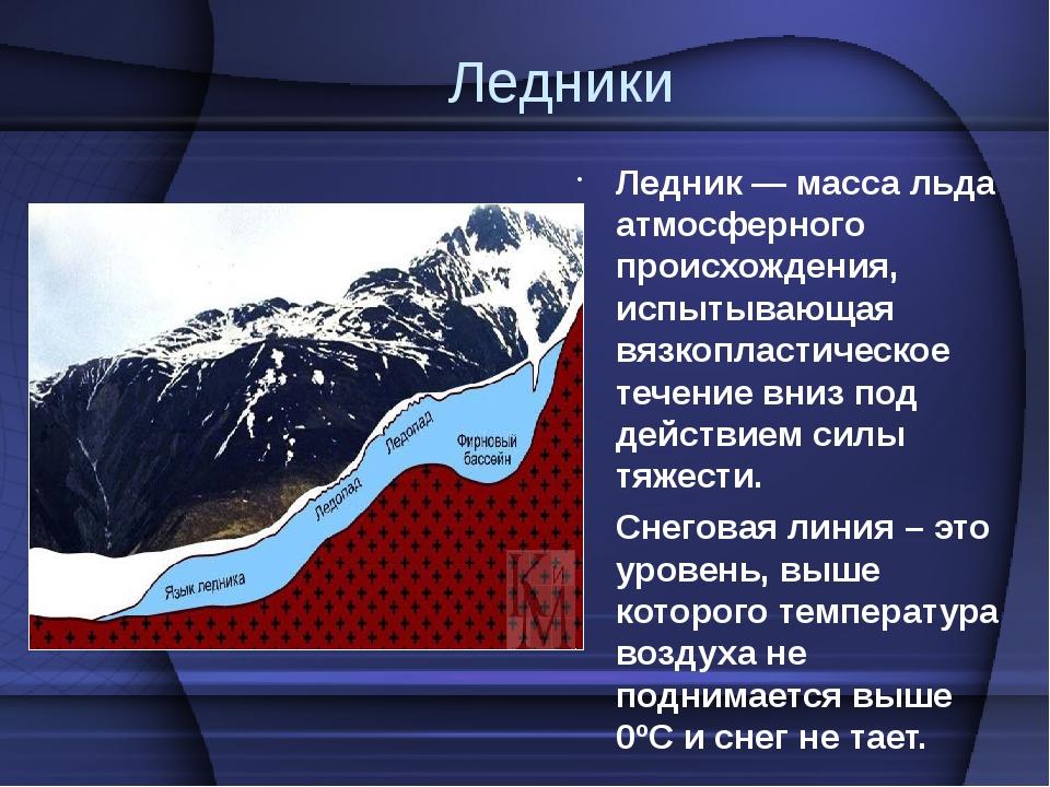 Ледники Ледник — масса льда атмосферного происхождения, испытывающая вязкопла...
