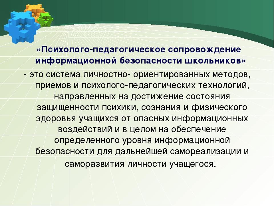 «Психолого-педагогическое сопровождение информационной безопасности школьник...