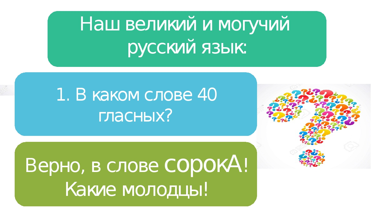 1. В каком слове 40 гласных? Наш великий и могучий русский язык: Верно, в сло...