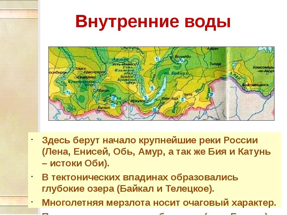 Внутренние воды Здесь берут начало крупнейшие реки России (Лена, Енисей, Обь,...