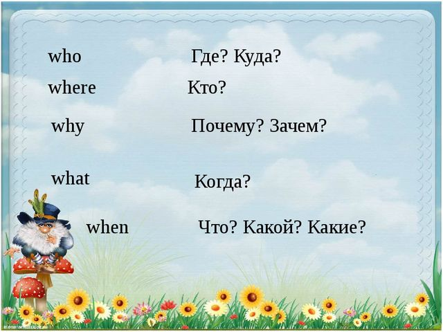 who where why what when Где? Куда? Кто? Почему? Зачем? Когда? Что? Какой? Как...