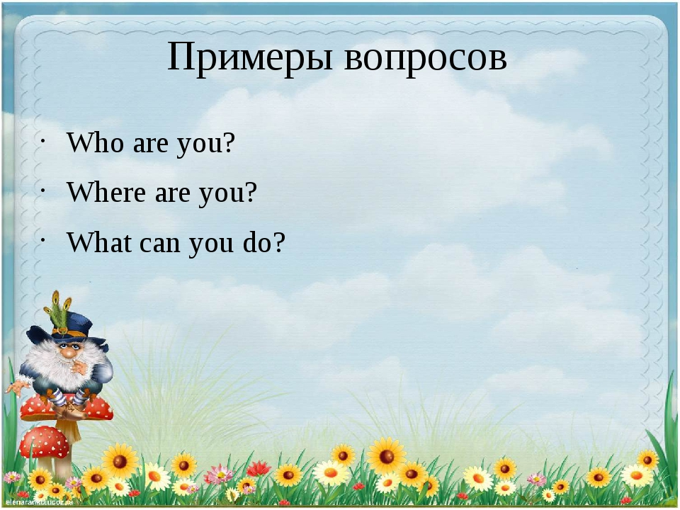 Примеры вопросов Who are you? Where are you? What can you do?