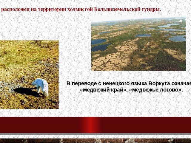 В переводе с ненецкого языка Воркута означает «медвежий край», «медвежье лого...
