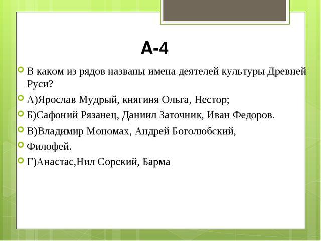 А-4 В каком из рядов названы имена деятелей культуры Древней Руси? А)Ярослав...