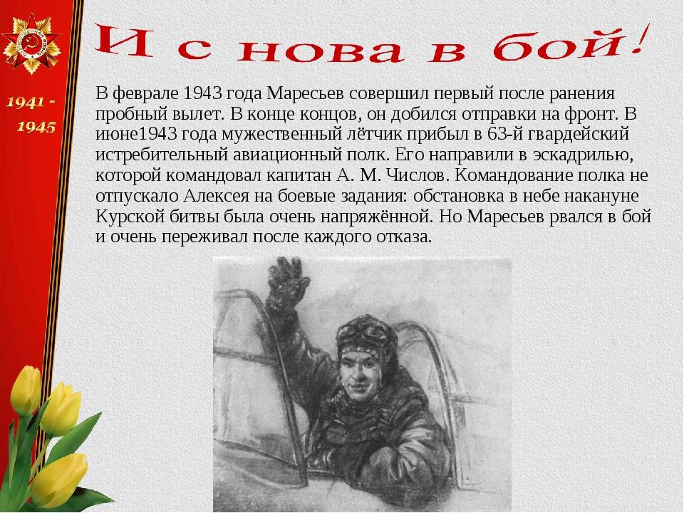 В феврале 1943 года Маресьев совершил первый после ранения пробный вылет. В к...