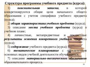Структура программы учебного предмета (курса): 1) пояснительная записка, в ко