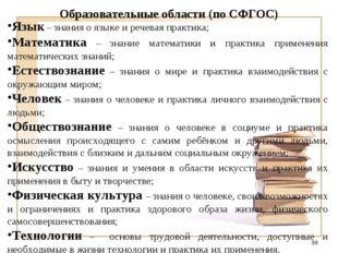 Образовательные области (по СФГОС) Язык – знания о языке и речевая практика;