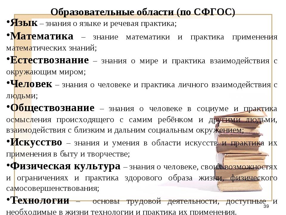 Образовательные области (по СФГОС) Язык – знания о языке и речевая практика;...