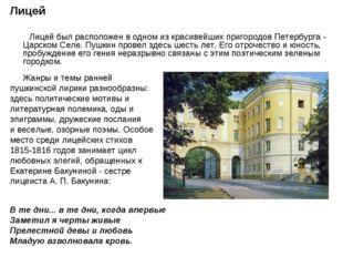 Лицей Лицей был расположен в одном из красивейших пригородов Петербурга - Цар
