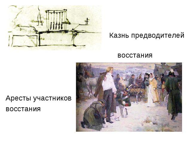 Казнь предводителей восстания Аресты участников восстания