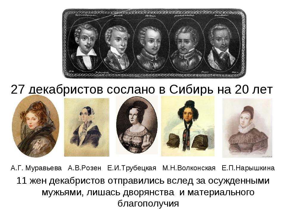 27 декабристов сослано в Сибирь на 20 лет А.Г. Муравьева А.В.Розен Е.И.Трубе...